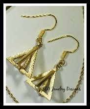 gold triangle earrings necklace set 4