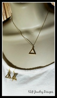 gold triangle necklace earrings set-1