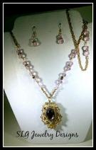 Pink german stone and rhinestone